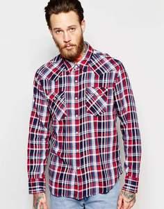 Красная клетчатая рубашка зауженного кроя в стиле вестерн Levi's Barstow - Выходной синий Levi's®
