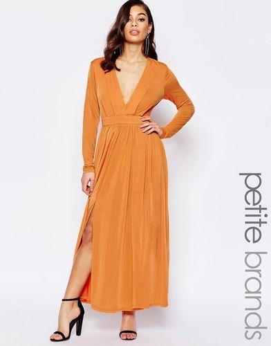 Платье макси с декольте и разрезом до бедра Lipstick Boutique Petite - Выгоревший оранжевый