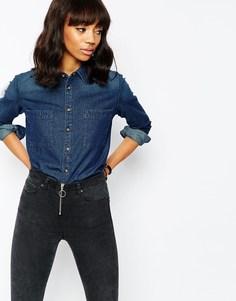 Синяя джинсовая рубашка ASOS - Темно-синий