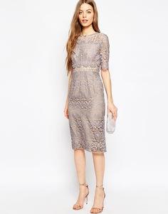 Кружевное платье-футляр ASOS Premium - Сиреневый