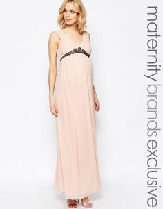 Платье макси для беременных с глубоким вырезом Maya - Pink champagne