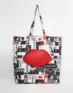 Складывающаяся сумка-шоппер Lulu Guinness London - Мульти