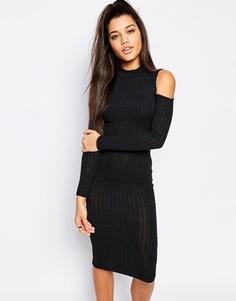 Облегающее платье миди в рубчик с вырезами на плечах Missguided - Темно-серый