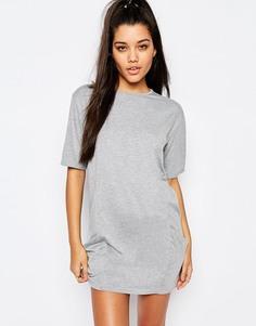 Свободное платье-футболка с карманами Missguided - Серый