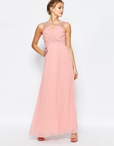 Платье макси с вырезом сердечком и складками на груди Little Mistress - Светло-розовый