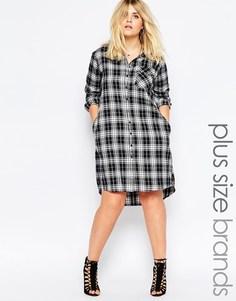 Платье-рубашка в клетку Missguided Plus
