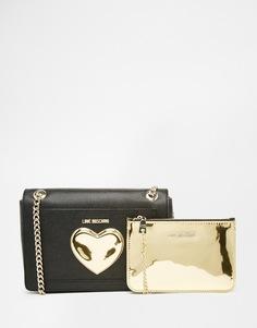 Сумка с золотистым сердечком и съемным кошельком Love Moschino - 000 черный