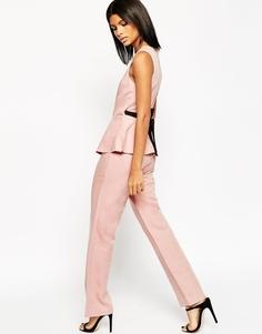 Льняной комбинезон с баской ASOS Premium - Розовый