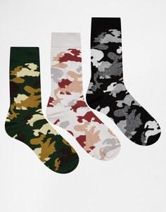 Набор из 3 пар носков с камуфляжным принтом ASOS - Мульти