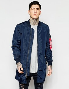 Темно-синяя куртка-пилот удлиненного кроя Alpha Industries MA1 - Синий