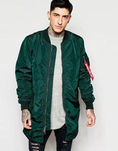 Зеленая куртка-пилот удлиненного кроя Alpha Industries MA1 - Темный сине-зеленый