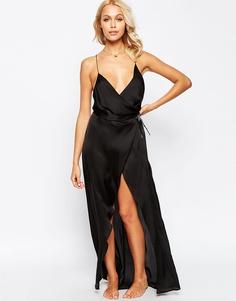 Атласное платье-сорочка макси ASOS - Черный