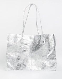 Кожаная сумка-шоппер без подкладки с узкими ремешками ASOS - Серебряный