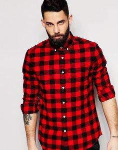 Рубашка в клетку с длинными рукавами ASOS - Красный