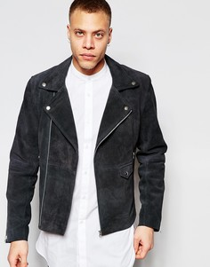 Замшевая байкерская куртка Barney's - Серый