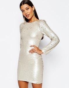 Двухцветное платье мини с пайетками Club L - Золотой