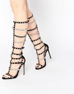 Высокие кожаные сандалии-гладиаторы на каблуке Carvela Guilt - Черный
