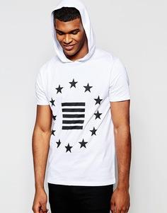 Белая футболка с принтом и капюшоном ASOS - Белый