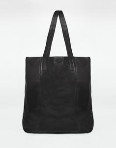 Длинная кожаная сумка-шоппер ASOS - Черный