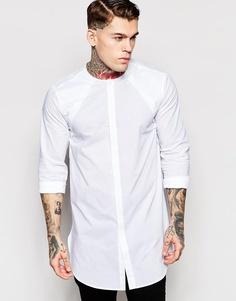 Длинная рубашка со скрытой планкой и длинными рукавами ASOS - Белый