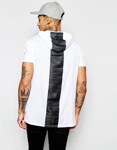 Удлиненная футболка с капюшоном и сетчатой вставкой сзади ASOS - Белый