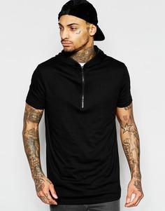 Черная удлиненная футболка с капюшоном и горловиной на молнии ASOS - Черный