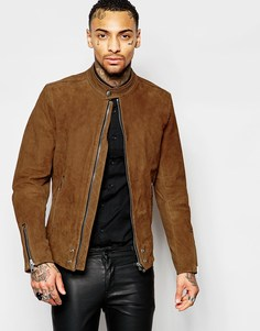 Коричневая замшевая байкерская куртка на молнии Diesel L-Edgeamer - Коричневый
