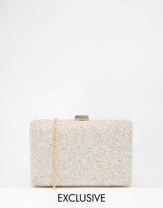 Клатч с переливающейся бисерной отделкой Chi Chi London - Белый