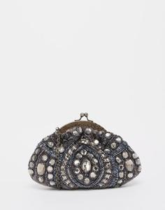 Бархатный клатч с отделкой камнями и бисером Moyna - Серый