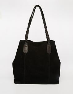 Замшевая сумка-шоппер с плетеным ремешком ASOS - Черный