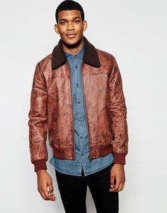 Кожаная куртка Харрингтон со съемным воротником под овечью шерсть ASOS - Коричневый