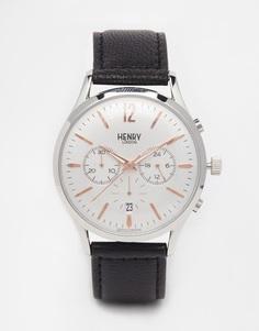 Часы к хронографом и кожаным ремешком Henry London Highgate - Черный