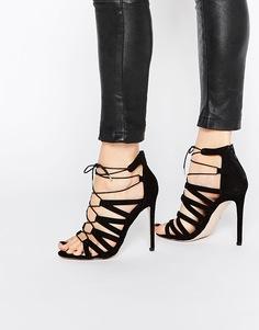 Босоножки на каблуке со шнуровкой ASOS HALLIE - Черный