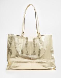 Кожаная сумка-шоппер без подкладки с узкими ремешками ASOS - Золотой