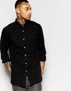Джинсовая удлиненная рубашка с принтом на спинке ASOS - Черный