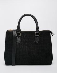Замшевая сумка-тоут с тиснением под крокодиловую кожу ASOS - Черный