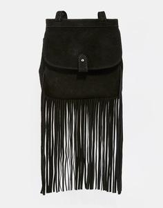 Замшевый рюкзак с бахромой ASOS - Черный