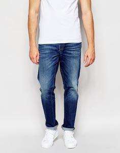 Синие умеренно выбеленные прямые джинсы Esprit - Синий