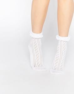 Кружевные носки с оборкой ASOS - Белый
