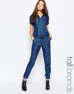 Комбинезон с короткими рукавами и шнурком на поясе Noisy May Tall - Синий