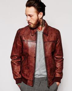Кожаная куртка Харрингтон с винтажным эффектом ASOS - Коричневый