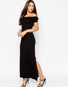 Платье макси с открытыми плечами и оборками ASOS - Черный