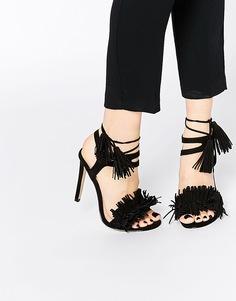 Сандалии на каблуке с бахромой и шнуровкой Lost Ink - Черный