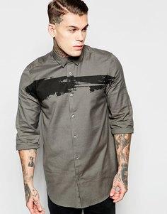 Удлиненная рубашка с принтом и рукавами 3/4 ASOS - Зеленый