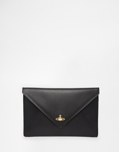 Черный клатч с золотистым логотипом Vivienne Westwood - Черный