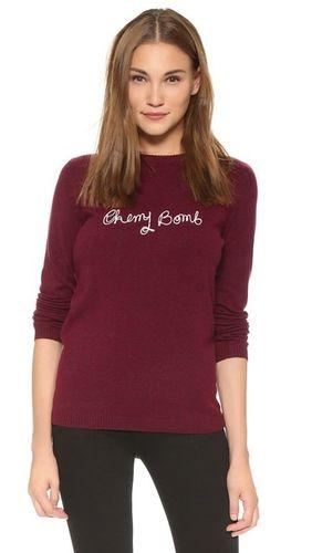 Кашемировый свитер с надписью «Cherry Bomb»
