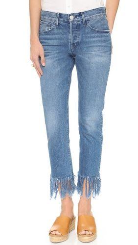 Прямые укороченные джинсы WM3 с бахромой