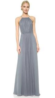 Платье с американской проймой и вставкой из тюля Monique Lhuillier Bridesmaids