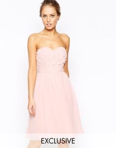 Платье-бандо для выпускного с 3D цветочной аппликацией на груди Little Mistress - Телесный