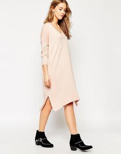 Тонкое трикотажное платье-джемпер с добавлением шелка и разрезами ASOS - Черный